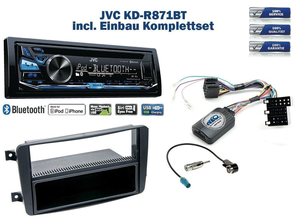 Mercedes C-Klasse (W203) Autoradio Einbauset *Schwarz* inkl. JVC KD-R871BT und Lenkrad Fernbedienung Adapter NIQ MC-34-JV-05-NIQ