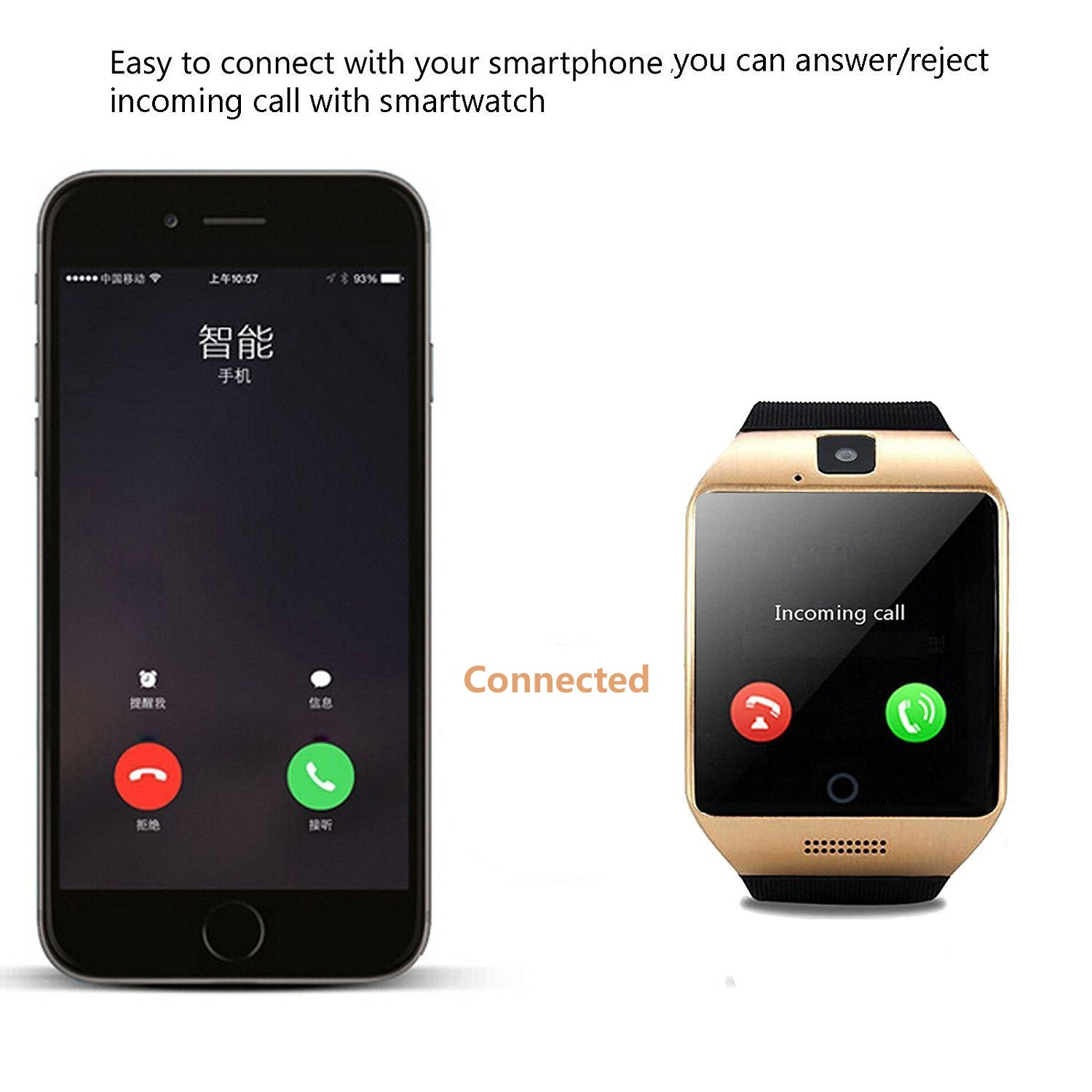 Amazon.com: Agkey Smartwatch Unlocked Watch Cell Phone Bluetooth Smart Watch with Camera Handsfree Call for Samsung LG HTC Motorola Huawei BLU Android ...