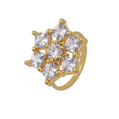 Buy Dzinetrendz Gold Plated Cz Studded Hexagon Shaped Free Size Fashion Finger Ring Women Latest At Amazon In