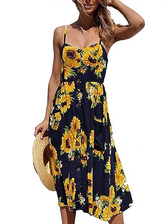 f786e59b3d Fun Daisy Women's Summer Floral Print Spaghetti Strap Button Down Swing  Midi Dress with Pockets (