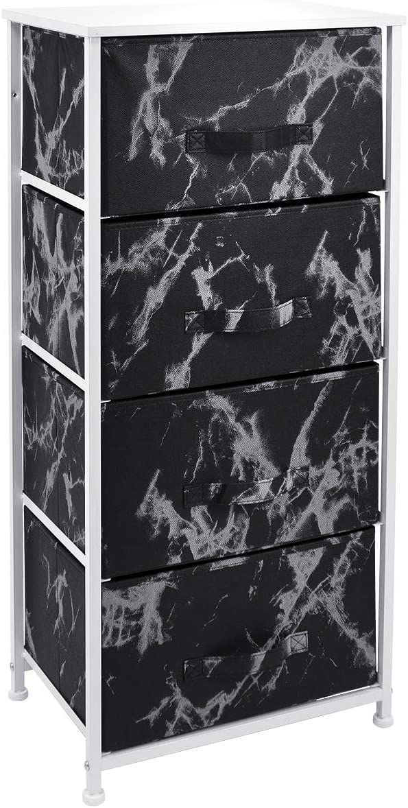 Sorbus Nightstand with 4 Drawers - Bedside Furniture & Night Stand End Table Dresser for Home, Bedroom Accessories, Office, College Dorm, Steel Frame, Wood Top (4-Drawer, Marble Black – White Frame)