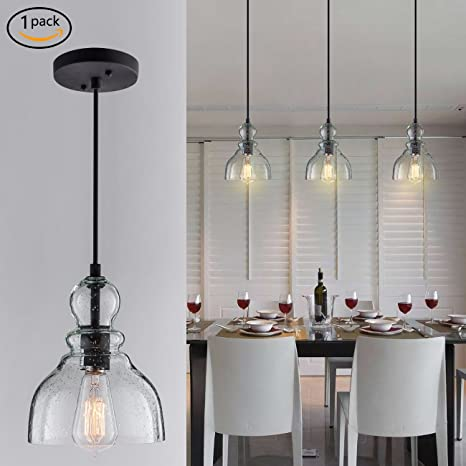 Donglaimei industrial mini pendant lighting with handblown clear seeded glass shade adjustable edison farmhouse kitchen