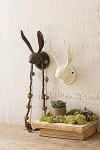 KALALOU Rustic Cast Iron Rabbit Wall Hook, One Size, Brown