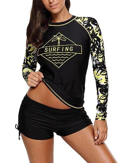 66f3dacd30 EVALESS Women s UPF 50+ Swim Shirt UV Slim-Fit Long Sleeve Athletic  Rashguard Small