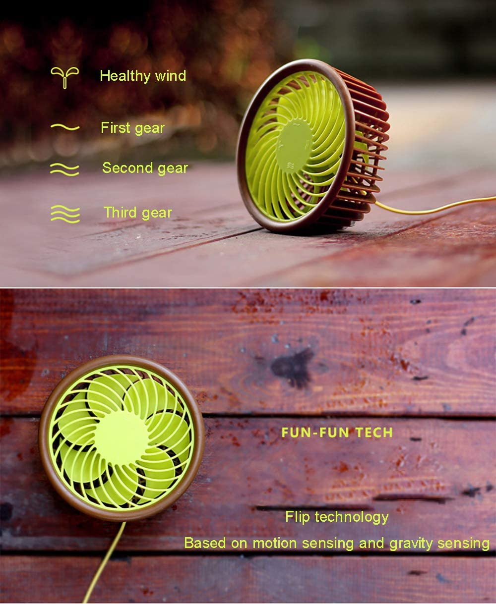 Mini Electric Fan USB Charging Portable Ultra Quiet Personal Cooling Fan for Home Office Dormitory Bedroom etc Brown