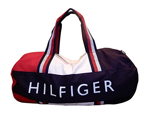 Tommy Hilfiger Patriot Duffle Bag with Wide Navy, Red and White Stripe  Handles 8624539601