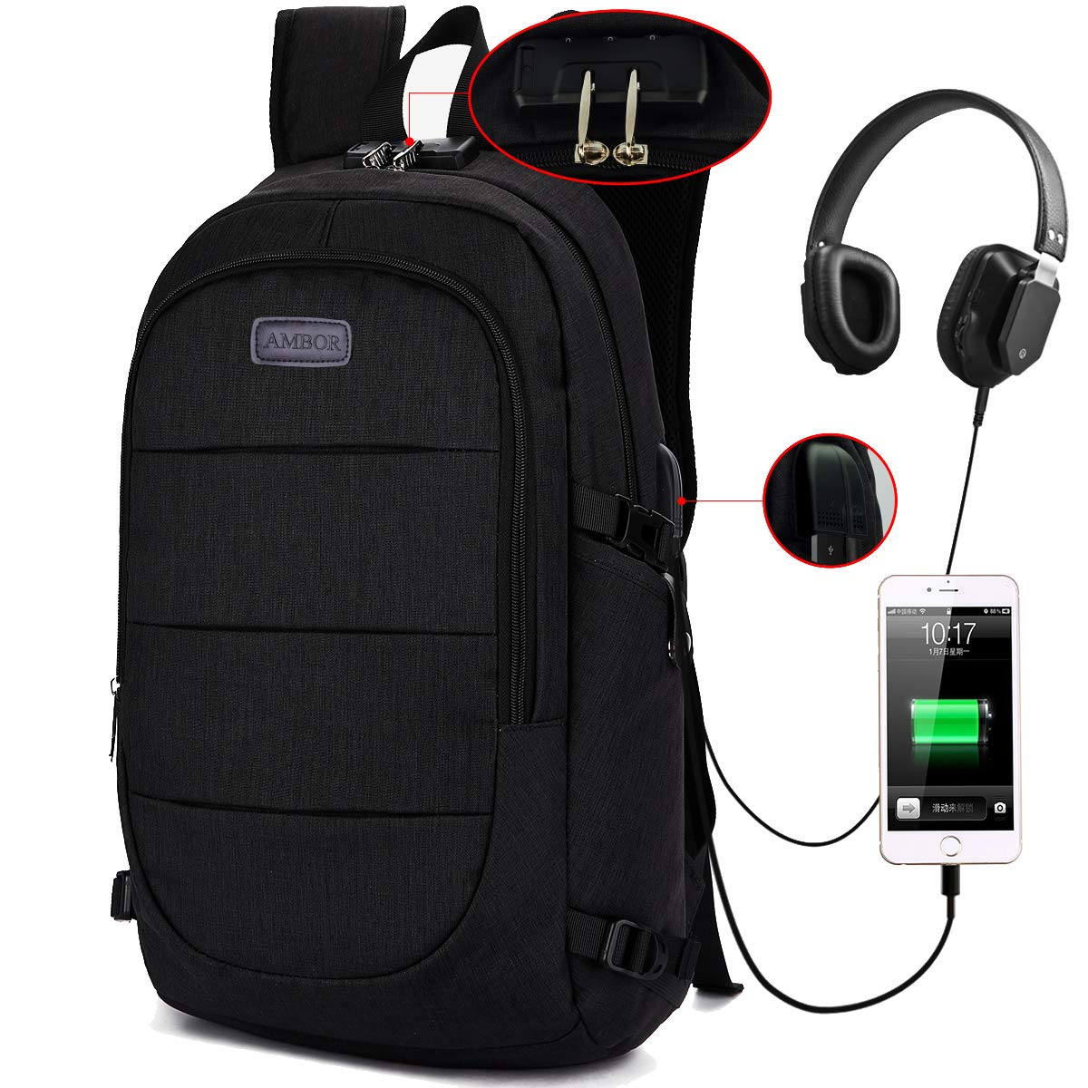 AMBOR Travel Laptop Backpack, Anti Theft Business Waterproof Laptop Backpack with USB Charging Port and Headphone Interface fits Under 15.6'' Laptop, for College Student Work Men & Women.Black