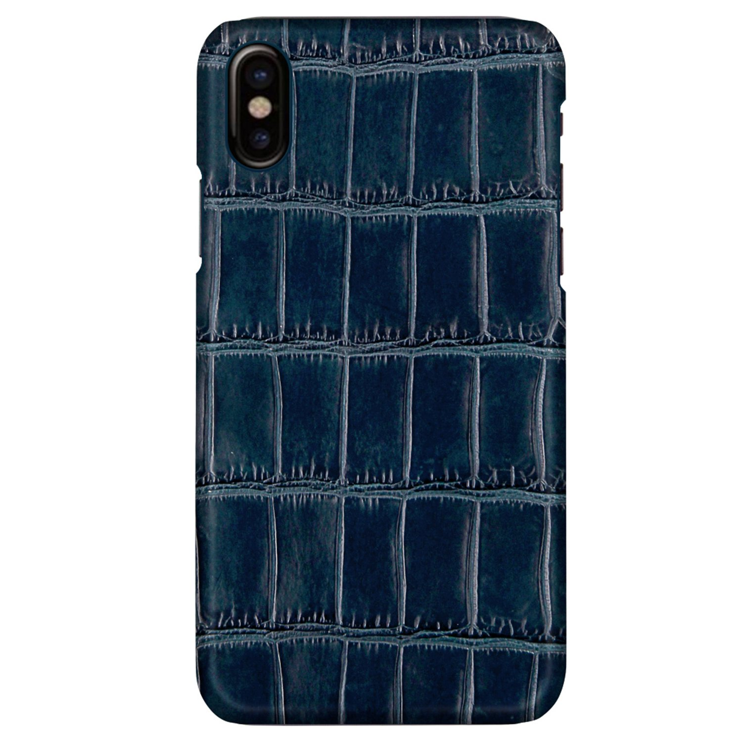 UU&T Luxury Case Classic Crocodile Belly Leather Lightweight Hardshell Back Case for iPhone X 5.8 Inch (Dark Blue)