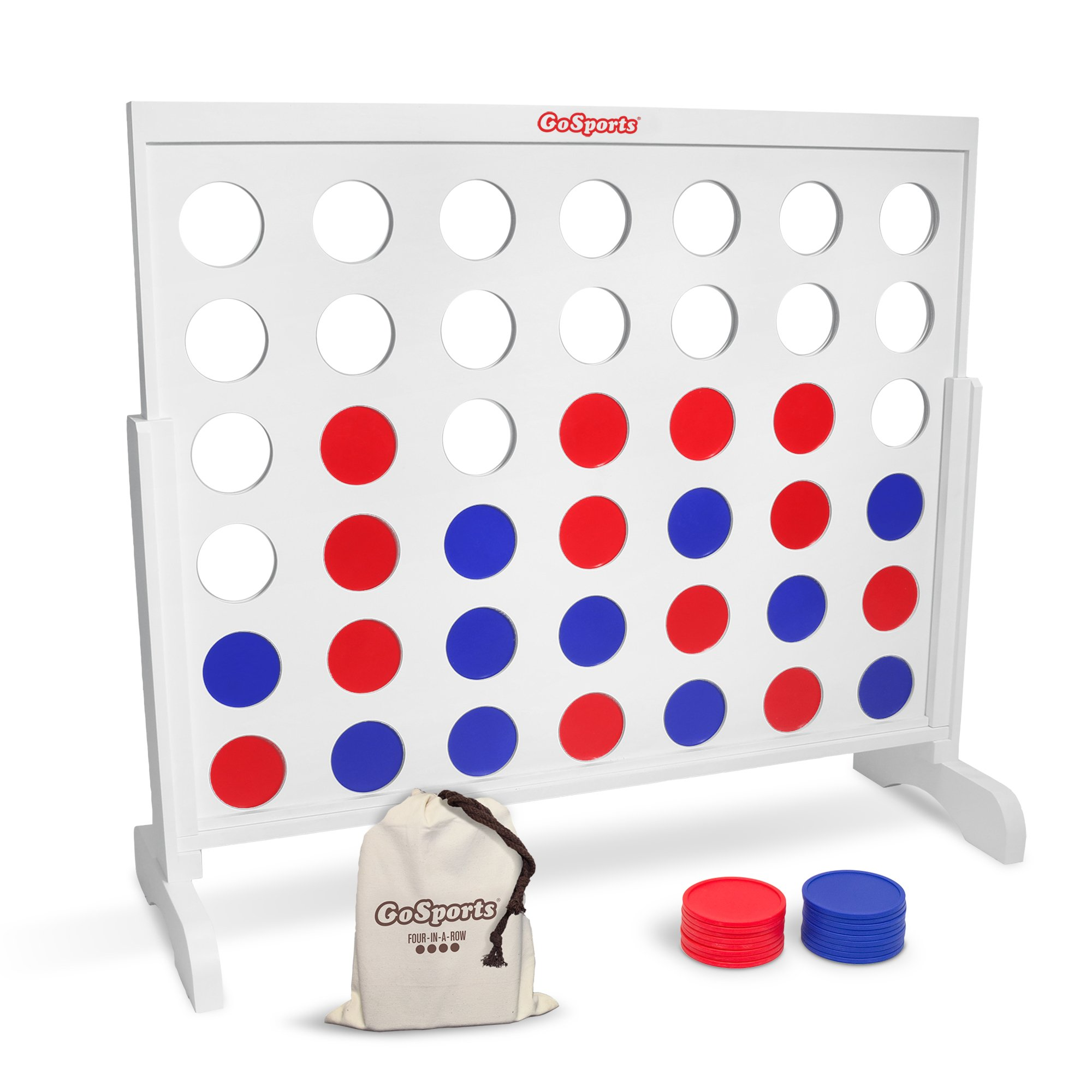 GoSports Giant 4 in a Row Game - HUGE 4 Foot Width - with Tote Bag for Coins