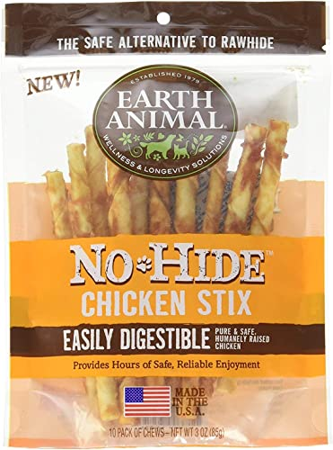 Earth Animal No Hide Rawhide Chicken Stix Dog Chews. 10 Count Bag. The Safe Alternative to Rawhide
