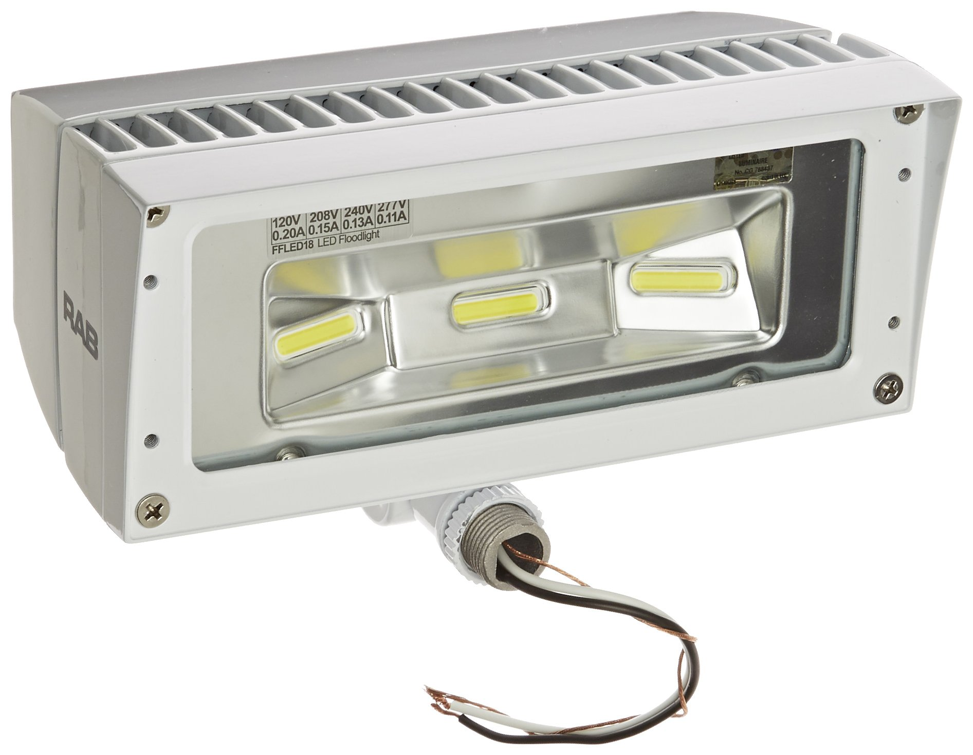 RAB Lighting FFLED18W 18-watt 1624-Lumens 277-volt Aluminum Rectangular Cool LED Floodlight, White