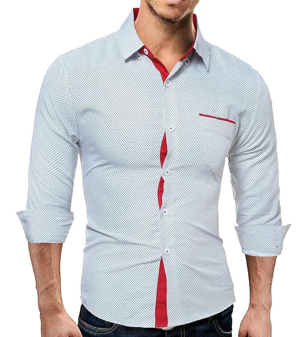 YUELANDE Men Plus Size Long Sleeves Slim Fit Polka Dots Dress Shirt Top