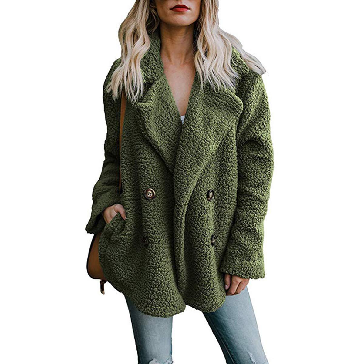 Women Winter Warm Fuzzy Coat Open Front Fleece Cardigan Outerwear Wrap with Pockets
