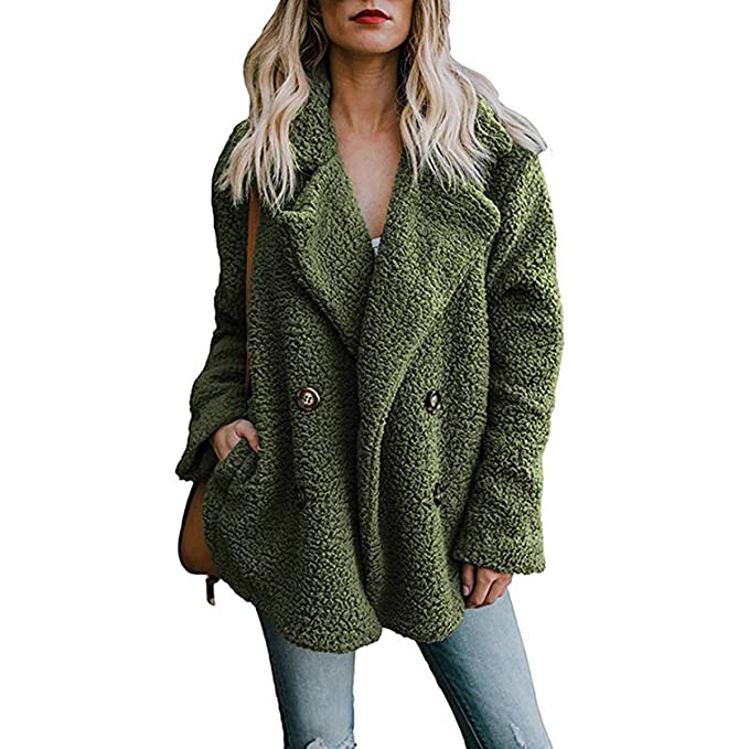 Coats & Jackets RUNYA Womens Long Coats Open Front Lapel Oversized Fleece Outwear Jacket Warm Winter Coats