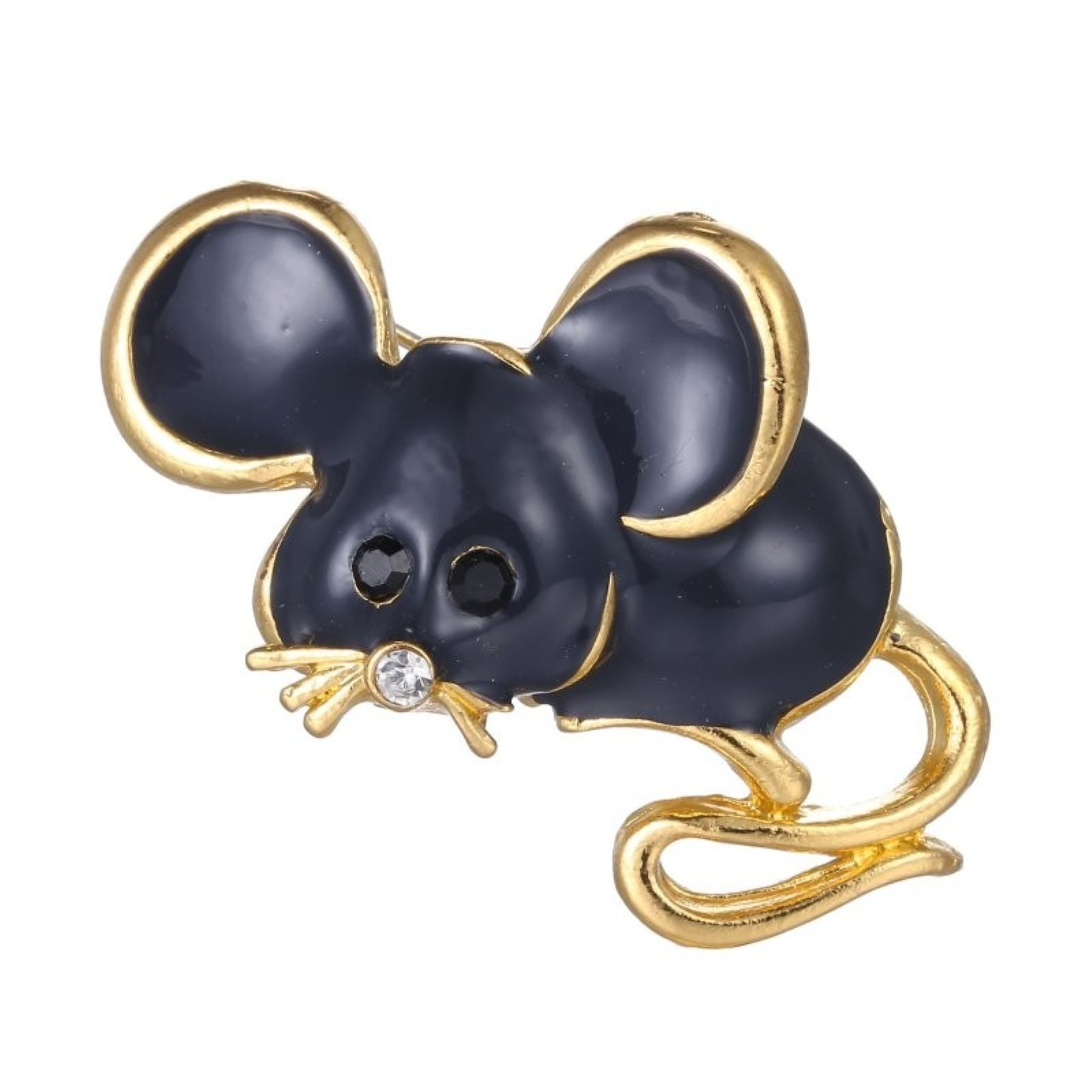 ptk12 Black vintage cute mouse Brooch pins gold color brooch decoration jewelry animal Brooches