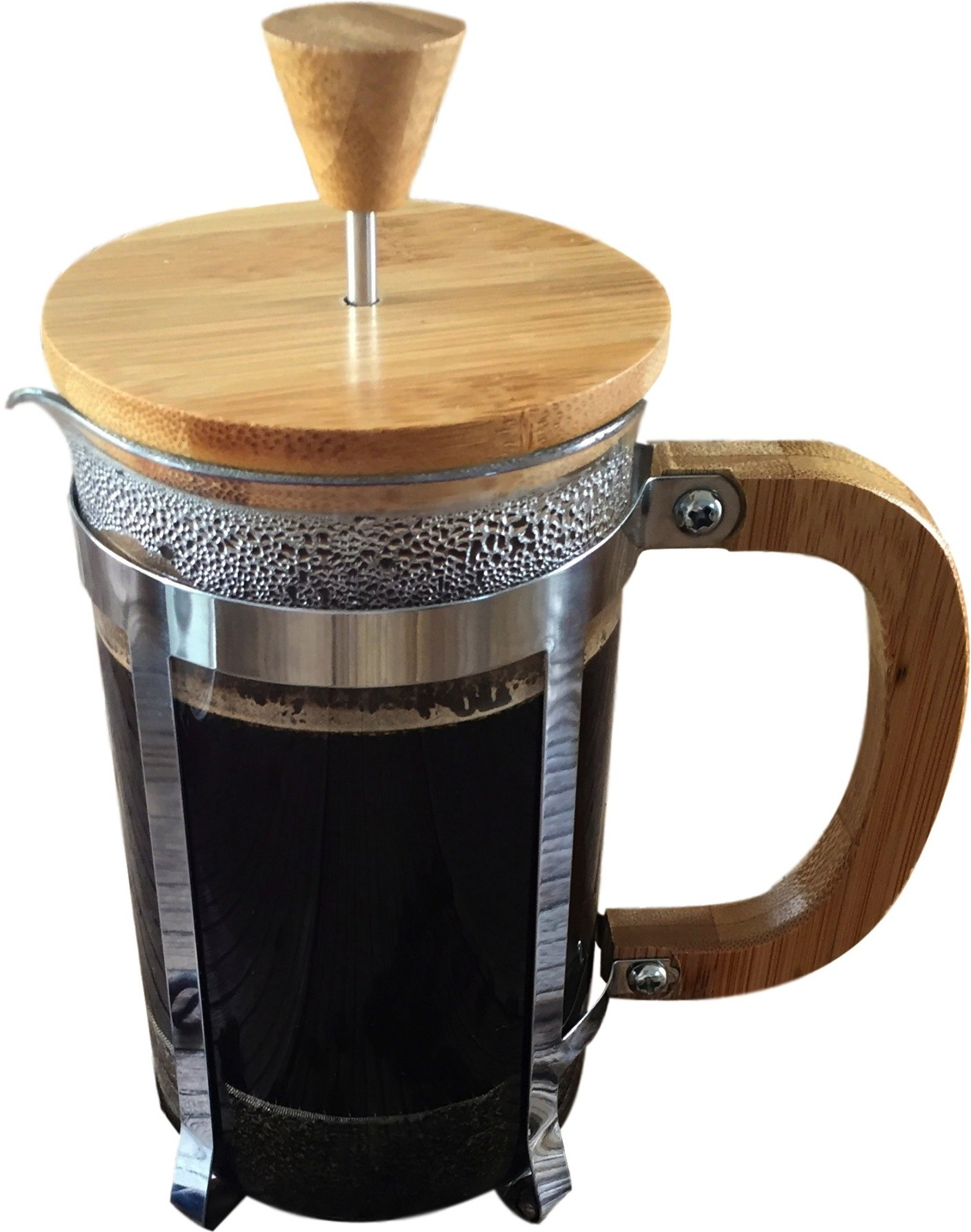 Starizzo French Press Coffee Maker For Home & Work, Travel, Camping, Tea, Cold Brew | Stylish Bamboo, BONUS Measuring Spoon, Compact Size 20oz | 600ml