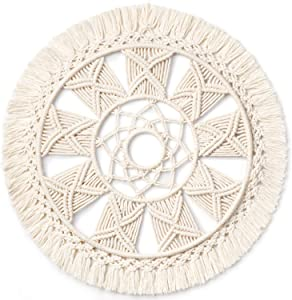 "Dahey Macrame Wall Hanging Woven Tapestry Wall Art wreath Boho Chic Home Decor Christmas Day Gift Festival mandala for Apartment Home Bedroom Living Room, 15.5"" L × 15.5"" W"