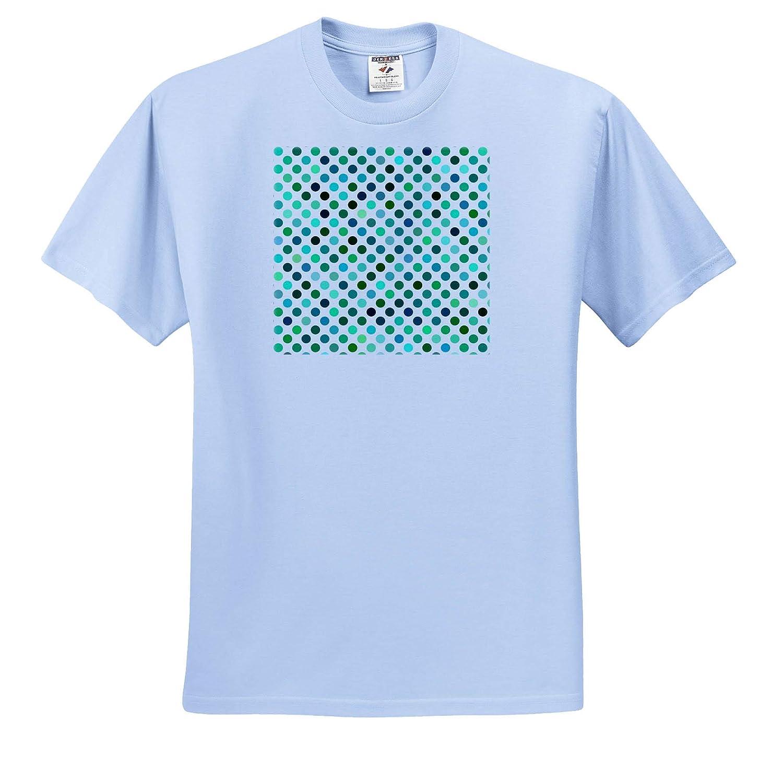 Image of Shades of Blue and Green Small Polka Dots Adult T-Shirt XL Polka Dots 3dRose Lens Art by Florene ts/_320803