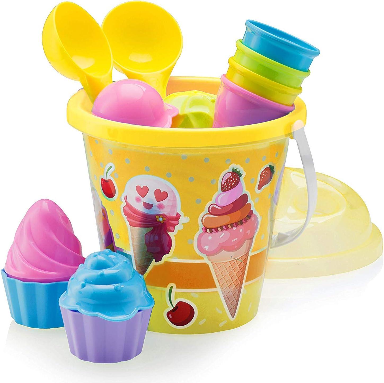 Top Race Juego de moldes para la playa, helados y pasteles, juego de 14 piezas con cubo grande de helado de 22,8 cm, amarillo o azul (amarillo)