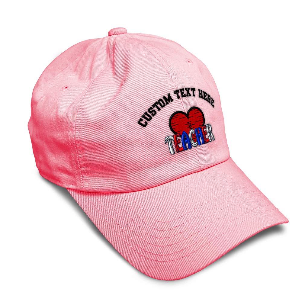 Custom Soft Baseball Cap Teacher and Heart Embroidery Dad Hats for Men /& Women