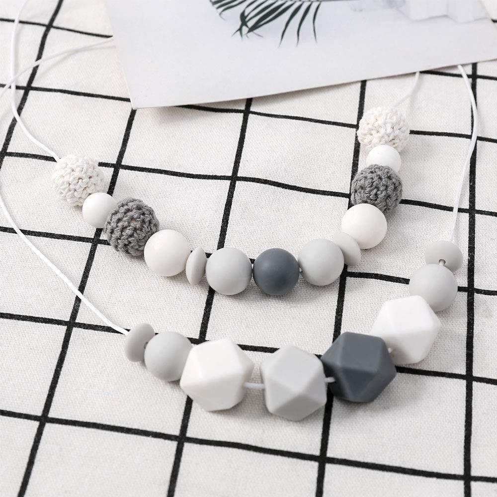 Diy Baby Bei/ßring Silikon Perlen Kit,Baby Spielzeug Zahnen Bei/ßring Halskette,Handwerk Silikonperlen Schnullerkette Selber Machen I LOVE MOM Pastellgrau