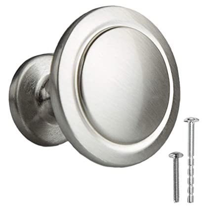 Satin Nickel Kitchen Cabinet Knobs 1 1 4 Inch Round Drawer Handles 10 Pack Of Kitchen Cabinet Hardware