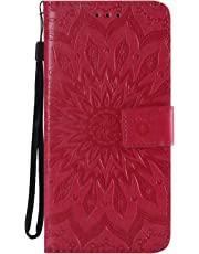 Samsung J6 Plus Case 2018, Shockproof PU Leather Flip Wallet Cases Sunflower with Stand Card Holder Slot Money Pouch Folio Gel Bumper Slim Fit Protective Skin Cover for Samsung Galaxy J6 Plus Red