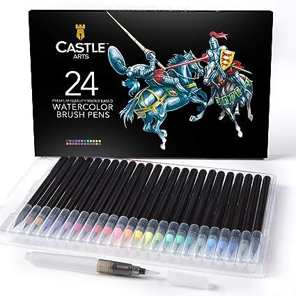 Castle Art Supplies estuche de 24 rotuladores de acuarela con punta de pincel. Rotuladores vibrantes con punta de pincel de nylon flexible para libros de colorear, caligrafía, dibujo y escritura: Amazon.es: Juguetes