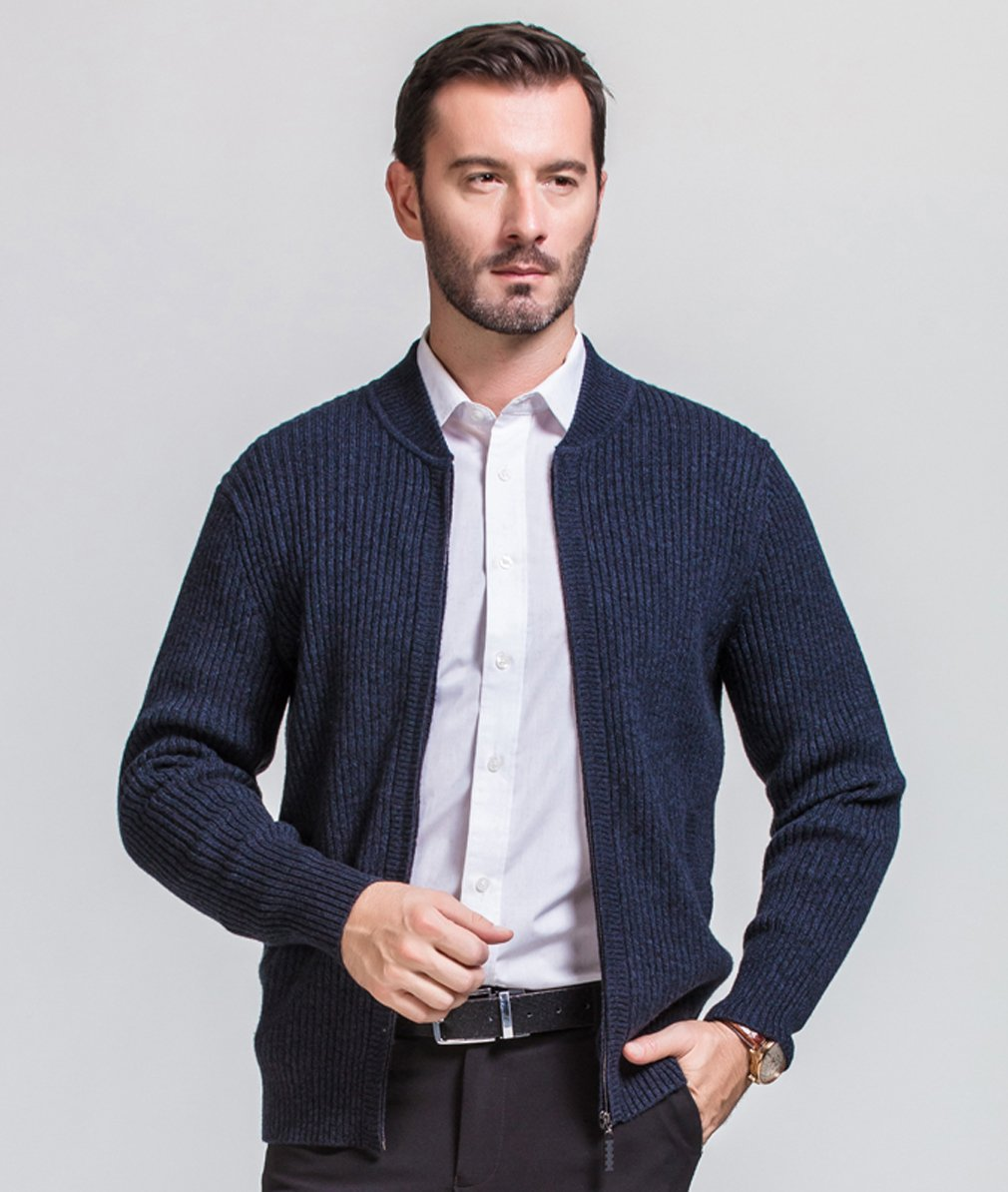 UNbox Mens Cashmere Solid Zip Knitted Cardigan Sweater Black Grey S by UNbox (Image #4)