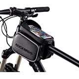 "RockBros Bike Bag Phone Waterproof Top Tube Bag Front Frame Mountain Bicycle Touch Screen Cell Phone Holder Pouch Compatible with iPhone X, 8 Plus 7 Below 5.8"" & 6.2"""