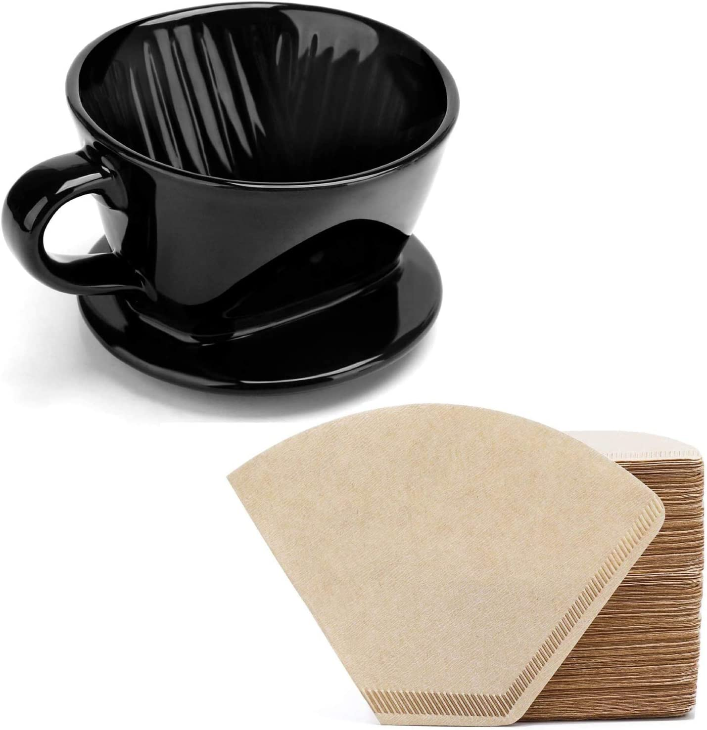 Coffee Filter, Segarty #2 Coffee Filter Cup and 400 Count #2 Coffee Disposable Cone Filters Paper, Flat Bottom Brewing Coffee Dripper and Natural Brown Paper for Home & Office Used, Easy to Clean