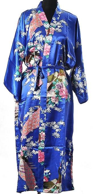 Pfau Kimono Robe Schlafanzug Nachthemd Bademantel Damen: Amazon.de ...