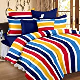 Ahmedabad Cotton Superior 160 TC Cotton Double Bedsheet with 2 Pillow Covers - Striped, Blue, Red and Yellow