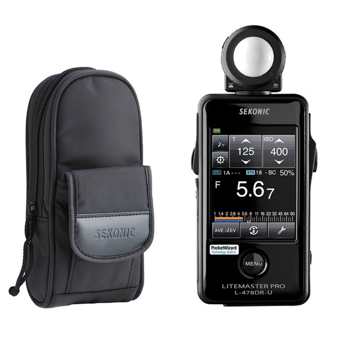 Sekonic LiteMaster Pro L-478DR-U Light Meter for PocketWizard System With Exclusive USA Radio Frequency And Exclusive 3-Year Warranty + Sekonic Deluxe Case for L-478-series meters by Sekonic
