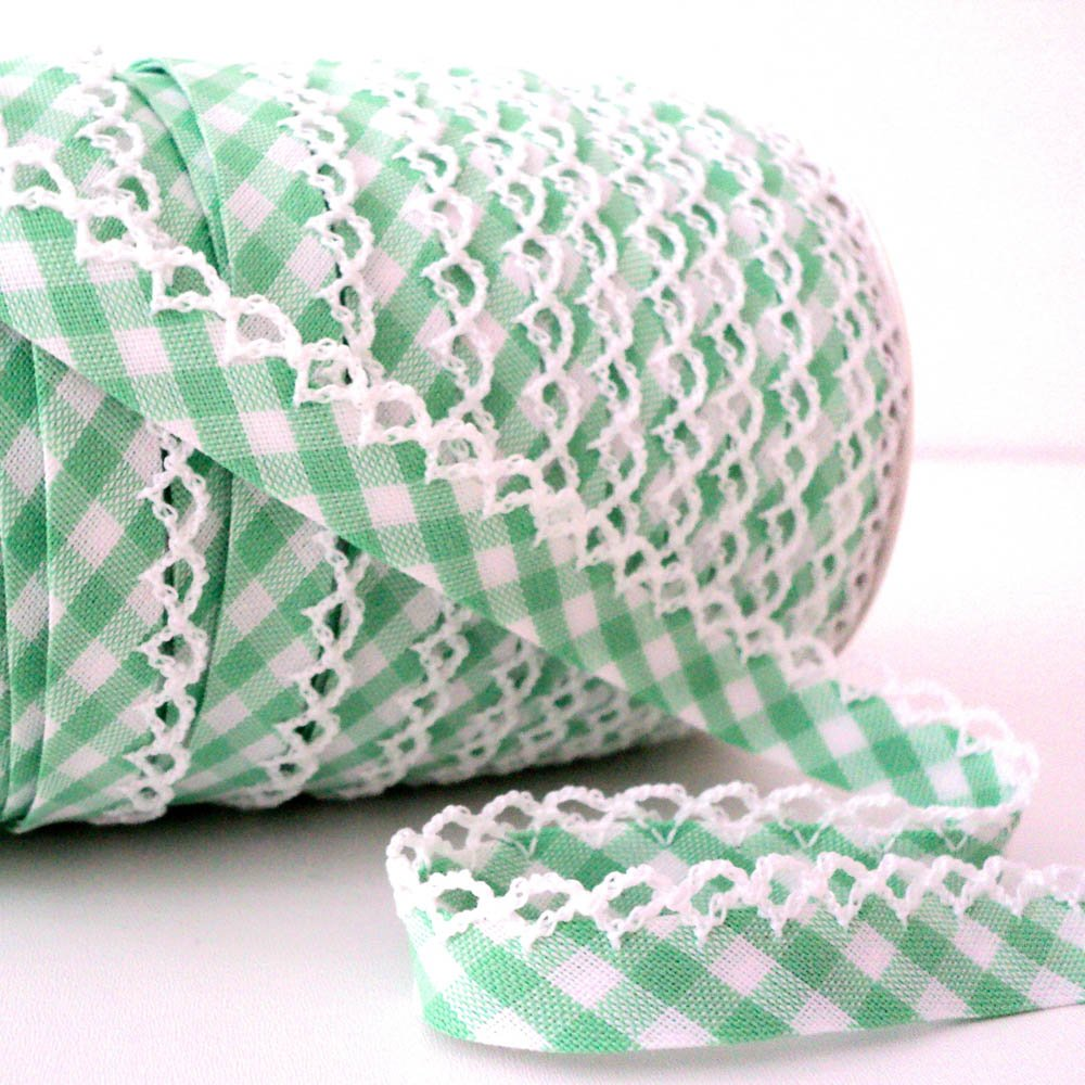 Higgs & Higgs - Picot Lace Edge Gingham Bias Binding - Green - Cotton Fabric Trim