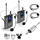 Hotec Wireless System with Dual Headset Microphones/Lavalier Lapel Mics and Bodypack Transmitters and One Mini Rechargeable R