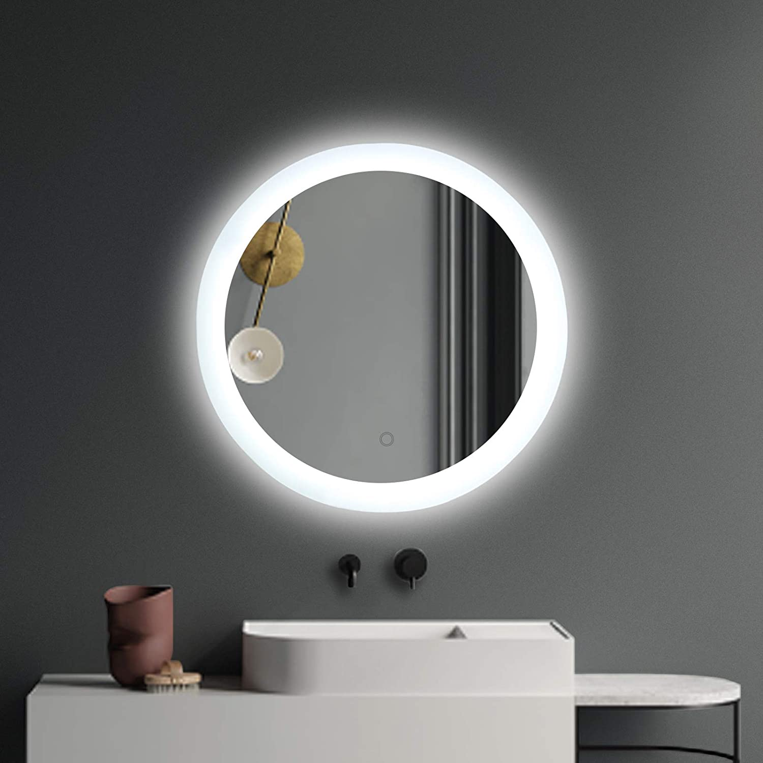 Amazon Com Exbrite Led Bathroom Vanity Mirror With Light 24 Inches Round Shape Dimmable Anti Fog Backlit Wall Mounted Defogger Circle Makeup Mirror Cri 90 Color Temperature 5000k Kitchen Dining