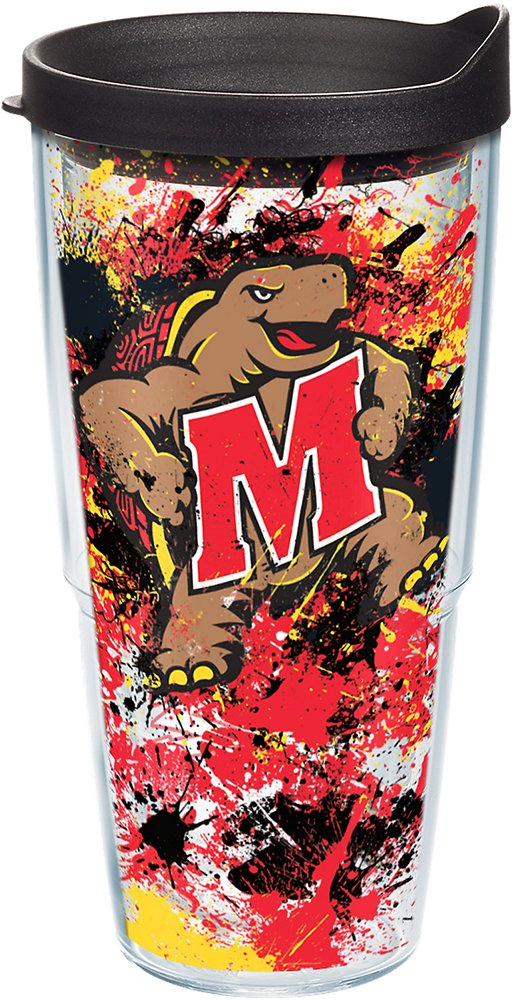 Tervis 1165403 Maryland Terrapins Splatter Tumbler with Wrap and Black Lid 24oz Clear