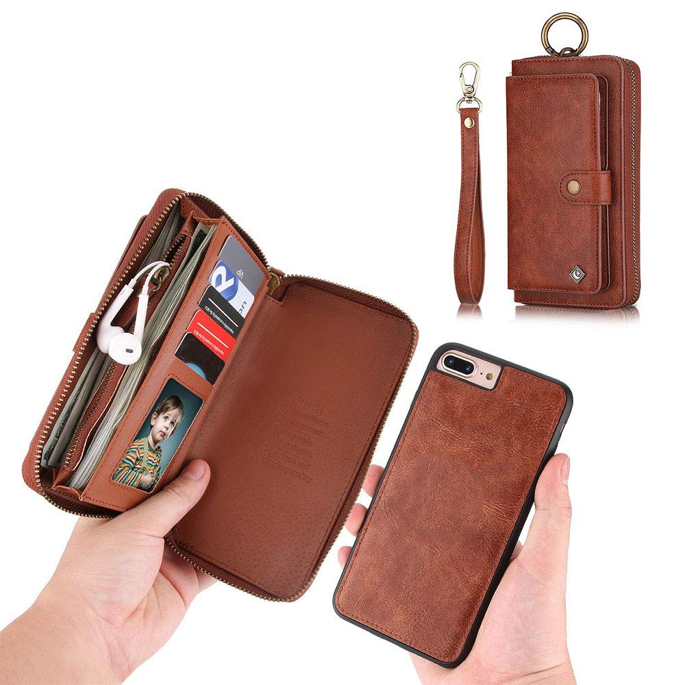 iPhone 7 Plus Wallet Case - JAZ Zipper Purse Detachable Magnetic14 Card Slots Card Slots Money Pocket Clutch Leather Wallet Case for iPhone 8 Plus / 7 Plus Brown