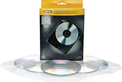 Fellowes 9831201 - Pack de 100 Sobres de plástico para CDs/DVDs, Transparente: Amazon.es: Informática