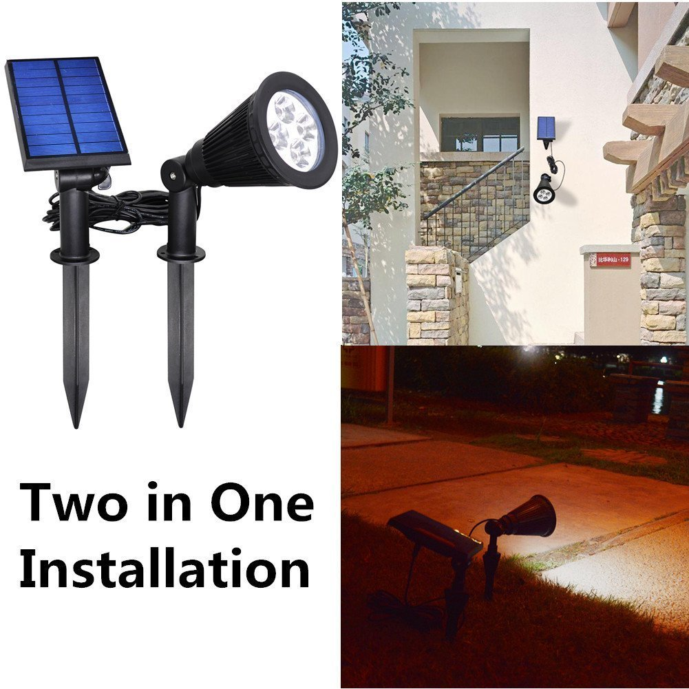Outdoor Landscape Lighting Waterproof Solar Wall Light Security Lights New Upgraded Version YINGHAO Solar Outdoor Indoor Spot Light 2 in 1 Installation IP44 Waterproof Separated Panel and Light