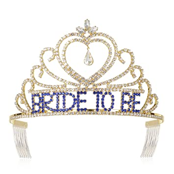 f7bde4470221 Amazon.com   DcZeRong Bride To Be Tiaras Gold for Bachelorette Party Bridal  Shower Tiaras Wedding Shower Crowns   Beauty