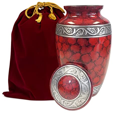 Celebration of Life Red Adult Cremation Urn for Human Ashes – Share Your Special Love with This Large Classic Comforting Urn – This Beautiful Urn Makes A Nice Tribute to Your Loved One – w Velvet Bag