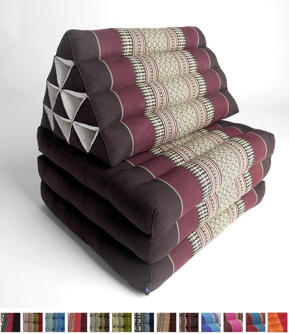 Leewadee Foldout Triangle Thai Cushion, 67x21x3 inches, Kapok Fabric, Brown Red, Premium Double Stitched