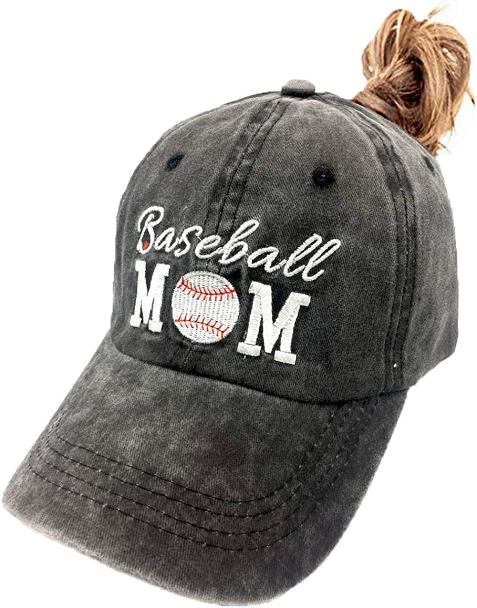 LOKIDVE Baseball Mom Baseball Hat Embroidered Washed Cotton Denim Cap for Women