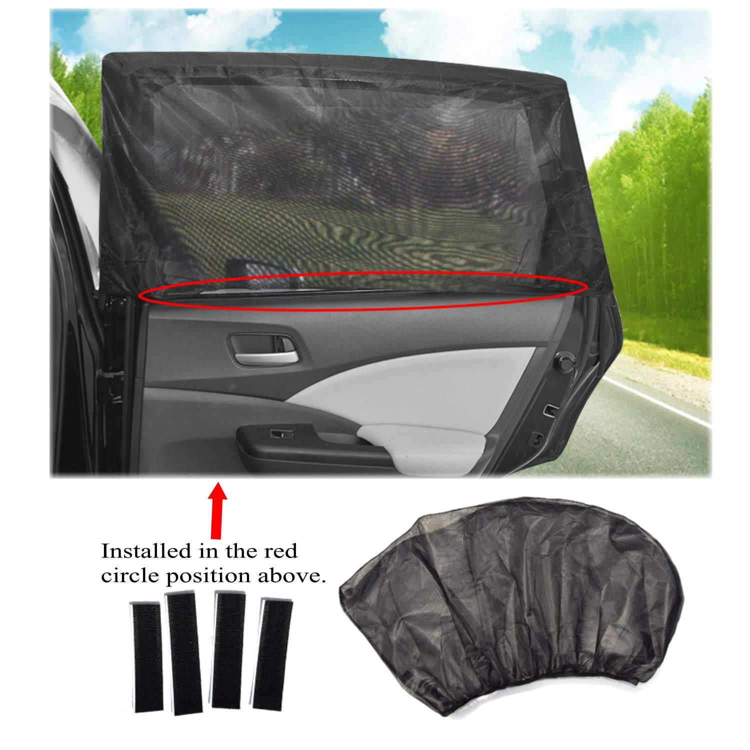 ZHONG AN Universal Sunscreen Car Baby 2 Pieces for Most Car Side Windows Gr.M for Car with UV Protection for Kids Sunscreen Car Curtain Summer