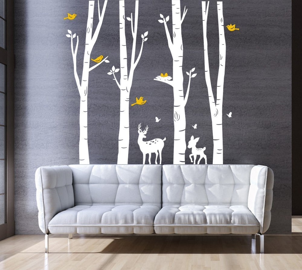 Large Forest Tree Wall Sticker for Living Room Kids Baby Nursery Wall Decoration Removable Vinyl Black Family Tree Wall Art Decal 73x79 Rocwart