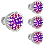 Full Spectrum 28W E26 LED Grow Light Bulb, 4 Pack Grow Plant Light for Hydropoics Greenhouse Organic Indoor Plants by Esbaybulbs