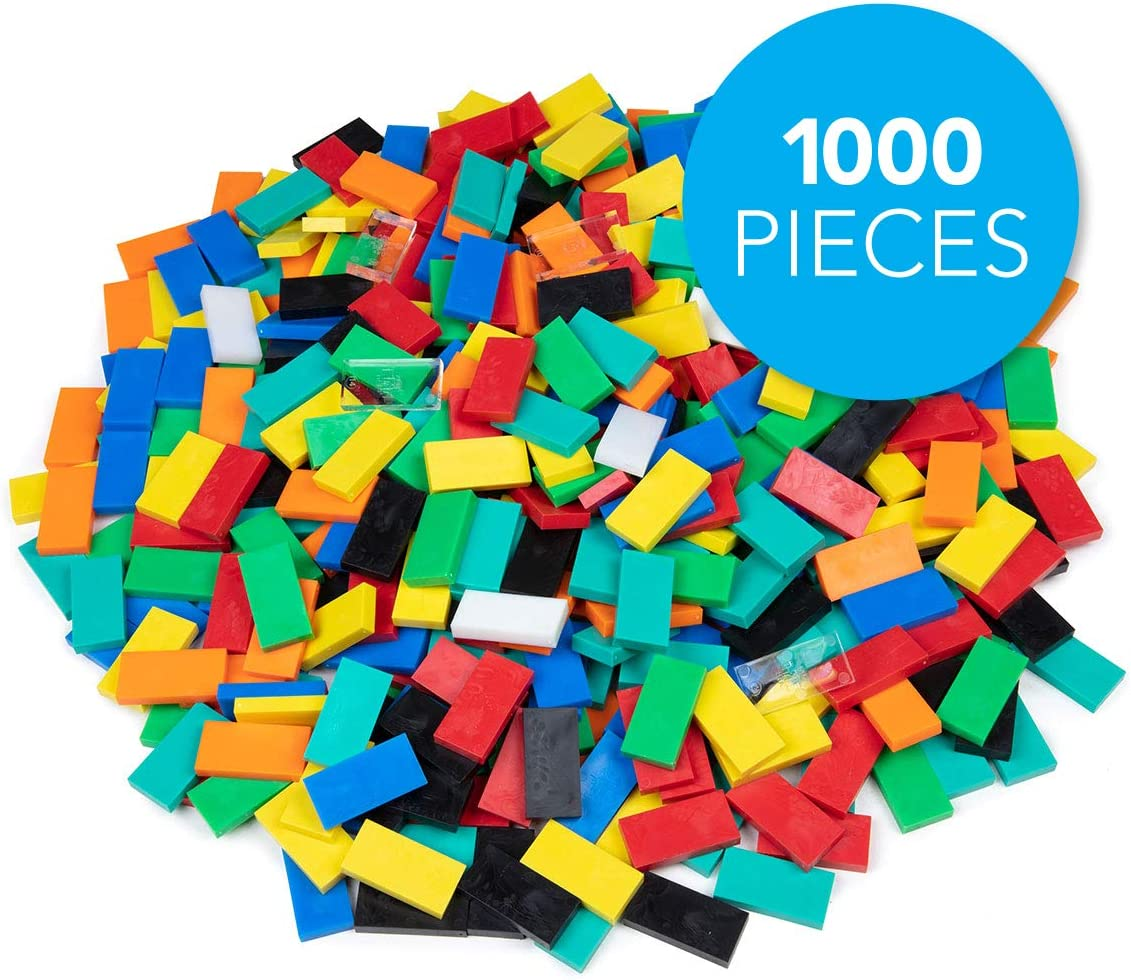 Bulk Dominoes Plastic Classic Mixed Bulk 1000pcs – Building and Stacking and Chain Reaction Toppling STEAM Toy Blocks for Kids