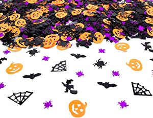 Halloween Confetti | Glitter Confetti Sprinkles for Party Table Scatters Decoration | Pumpkin Bat Witch Spider Confetti for Party Supplies | Metallic Foil | 45g 1.6OZ 1100Pcs